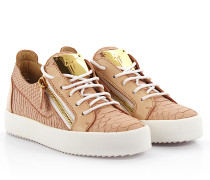 Sneaker Nicki May London Golia printed Leder geprägt rosa