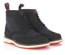 Stiefeletten Boots Budapester Barry Brogue High Gummi schwarz Hightech-Jersey
