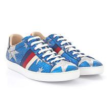 Ace Sneaker Starry Sky Leder Stoff blau Sternenmuster silber Webdetail