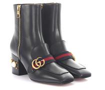 Stiefeletten Boots Leder Perlen Nieten Stoffriemen Logo