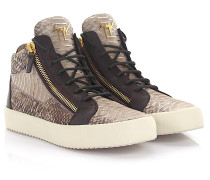 Sneaker high Kriss Phyton-Look Leder braun