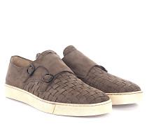 Sneaker Doppel-Monk 20453 Veloursleder taupe geflochten