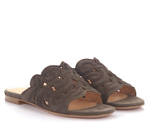 Sandalen 7696 Veloursleder taupe Design-Stickerei