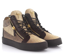 Sneaker Kriss Mid Top Leder beige braun Schlangenprägung gold finished
