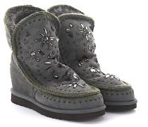 Keilstiefeletten Boots Eskimo Wedge Short Veloursleder Stricknaht grün braun Schafsfell Kristalle