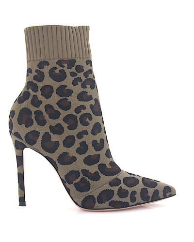 Stiefeletten SAUVAGE Stretch Textil Leo Print leopard