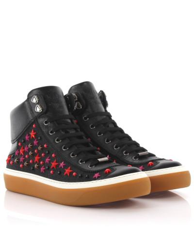 Sneakers High Argyle Saffianoleder Denim schwarz