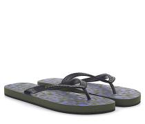 2 Flip Flops Zehentrenner Gummi schwarz Kunststoff camouflage + Kosmetiktasche