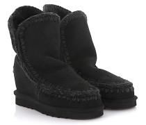 Keilstiefeletten Boots Eskimo Wedge Short Veloursleder Stricknaht Schafsfell