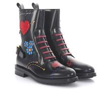 Stiefeletten Boots Leder bedruckt