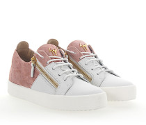 Sneaker MAY Leder weiss Samt rosé