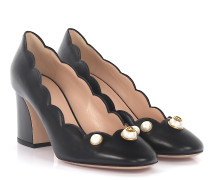 Pumps Leder Perlen