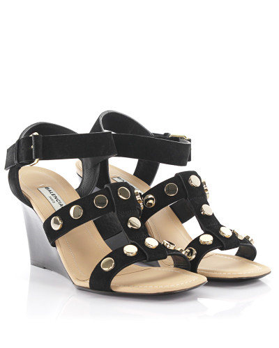 Sandalen Amp mit Keilabsatz Leder Nieten