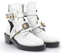 Ankle Boots Leder weiss Metallschnallen silber gold