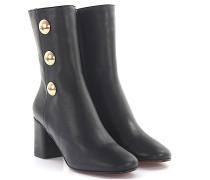 Ankle Boots Leder gold Knöpfe