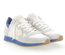 Sneaker TROPEZ Veloursleder Nylon Mesh weiss Leder neon blau