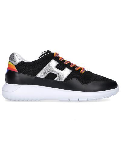Sneaker low H371 Kalbsleder Nylon Logo silber