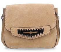 Handtasche SRR010 Veloursleder Logo silber sand
