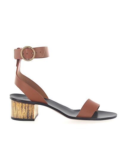 Sandalen Leder braun Metallblockabsatz