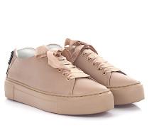 AGL Sneaker D92503 Plateau Leder taupe Strassverzierung Satin-Schnürsenkel