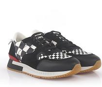 Sneaker Runner Active Leder Veloursleder weiß Checkmate-Print