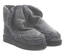 Stiefeletten Boots Eskimo 18 Veloursleder glänzend Stricknaht grau Schafsfell