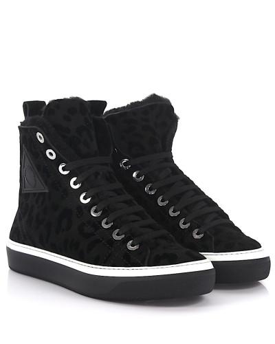 Sneaker High Boris Leopard-Look Lammfell