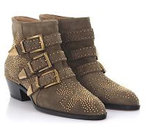 Stiefeletten Boots Susanna Veloursleder Florale-Nieten gold