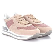 Sneaker H222 Plateau Veloursleder rosé Leder silber metallic Stoff Glitzer rosé