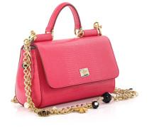 Dolce & Gabbana Handtasche Schultertasche Leder Leguan Prägung magenta