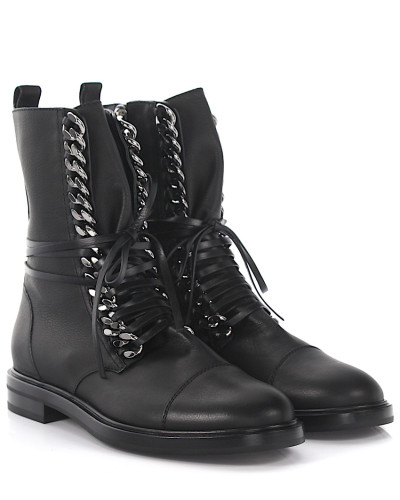 casadei damen casadei stiefeletten city rock leder schwarz kette reduziert. Black Bedroom Furniture Sets. Home Design Ideas