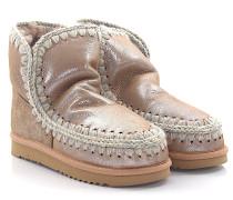 Stiefeletten Boots Eskimo 18 Veloursleder rosa glänzend Stricknaht beige grau Schafsfell