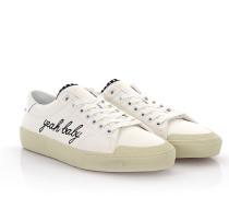 Saint Laurent Sneakers Low Top SL/ Surf Denim weiß YEAH BABY Patch Nieten