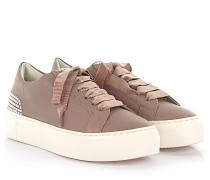 Agl Sneaker D925012 Plateau Leder taupe Perlen Satin-Schnürsenkel