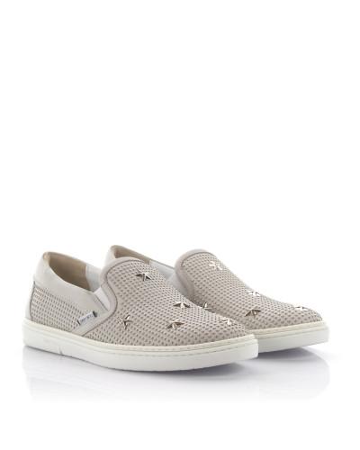 Sneakers Slip On Grove Leder Stern Nieten silber