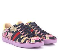 Sneakers Ace Low Top Leder Stoff schwarz Blumenstickerei