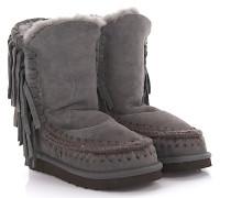 Stiefeletten Boots Eskimo Fringes Veloursleder Stricknaht grün Fransen Schafsfell