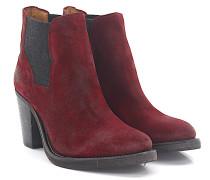 Chelsea Boots Kalbsleder Textil Veloursleder bordeaux