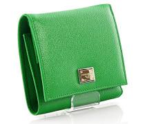 Dolce & Gabbana Portemonnaie Geldbörse Leder grün geprägt