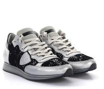 Sneakers TROPEZ LOW Leder silber Samt schwarz Stoff Glitzer