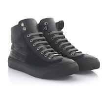 Sneaker Argyle High Top Leder schwarz Samt grau