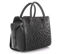 2 Handtasche Schultertasche Twin ZIp Leder Design-Nieten
