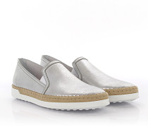 Sneakers Slip On Leder finished Baumwolle beige