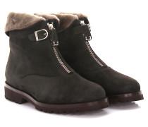 Stiefeletten Boots 1978 Veloursleder grau Lammfell