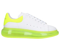 Sneaker low LARRY Kalbsleder Logo Neon weiß gelb