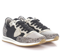 Sneaker Tropez Low Leder silber Glitzer Nylon