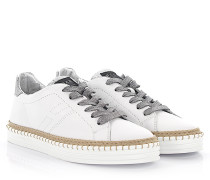 Rebel Sneaker R260 Leder Stoff silber Glitzer Bast
