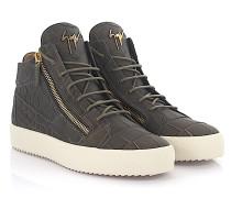 Sneaker High Kriss Leder khaki Krokodilprägung