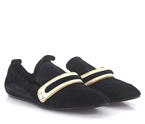 Slipper FSPL Veloursleder Lackleder weiß gold
