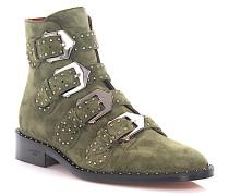Stiefeletten Boots BE08143 Veloursleder grün Nieten silber